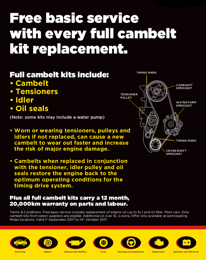 Free basic service with every full cambelt kit replacement